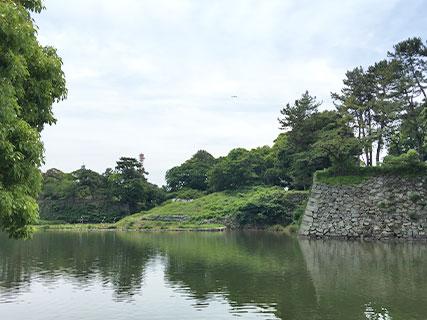 名古屋城 水堀 崩れた石垣